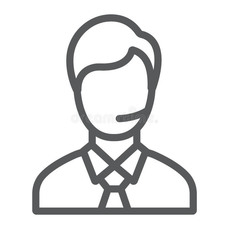 Ligne icône d'homme de soutien, appel et communication, signe de consultation, graphiques de vecteur, un modèle linéaire sur un b illustration de vecteur