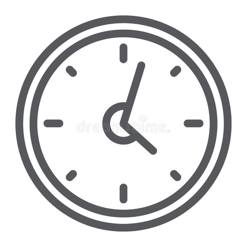 Ligne icône d'horloge, heure et temps, signe de montre de mur, graphiques de vecteur, un modèle linéaire sur un fond blanc illustration de vecteur