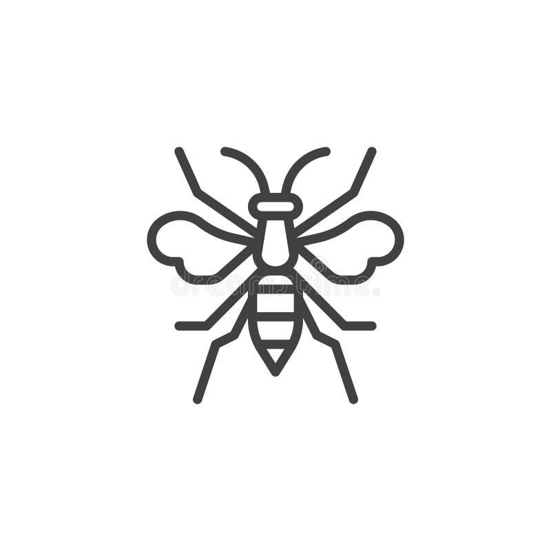 Ligne icône d'insecte de guêpe illustration stock