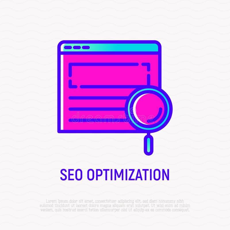 Ligne icône d'optimisation de SEO : loupe sur la page Web illustration stock