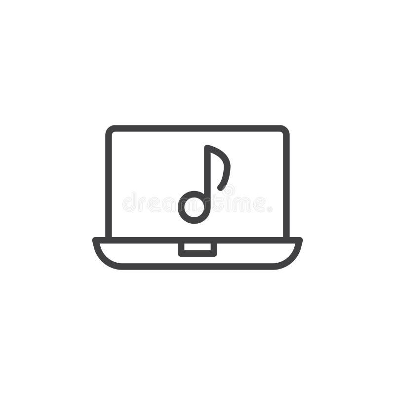 Ligne icône d'ordinateur portable et de note musicale illustration stock