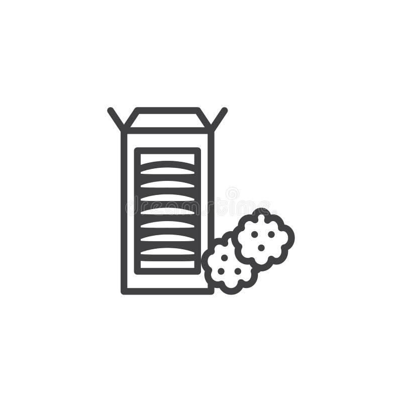 Ligne icône de boîte à biscuit de chocolat illustration stock