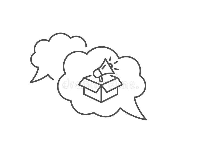 Ligne icône de boîte de mégaphone Signe de dispositif de publicit? Ambassadeur de marque Vecteur illustration de vecteur