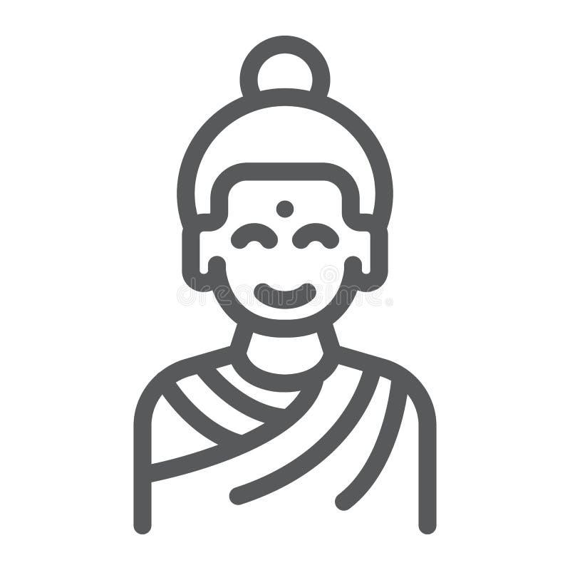 Ligne icône de Bouddha, méditation et bouddhisme, signe méditant de personne, graphiques de vecteur, un modèle linéaire sur un bl illustration libre de droits