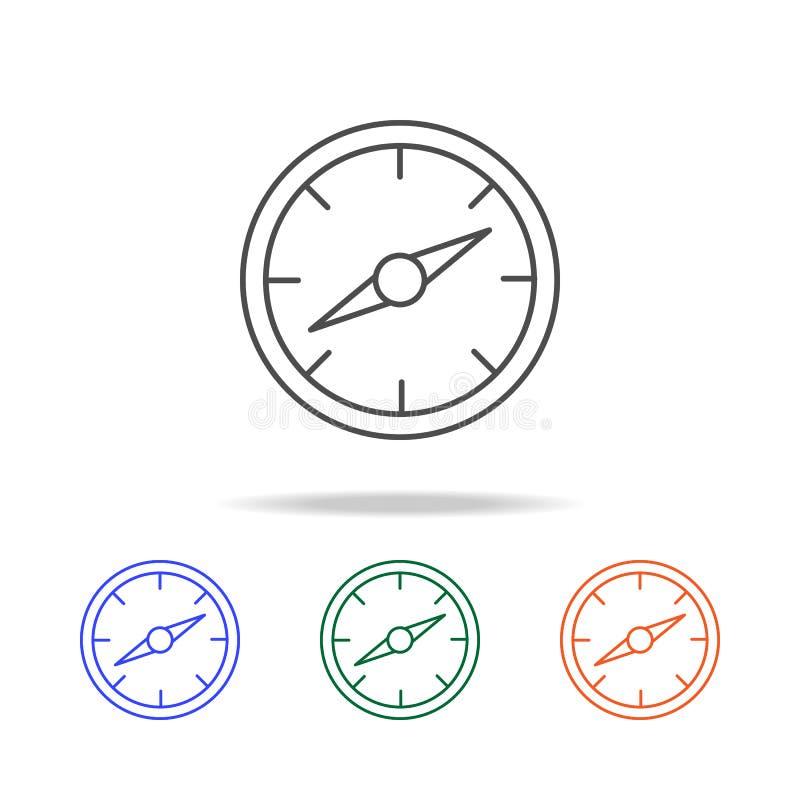 Ligne icône de boussole Éléments de voyage dans les icônes colorées multi Icône de la meilleure qualité de conception graphique d illustration libre de droits