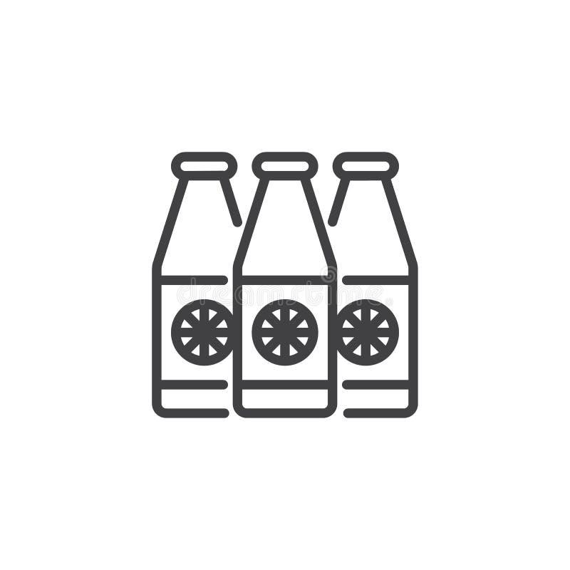 Ligne icône de bouteille de jus illustration stock