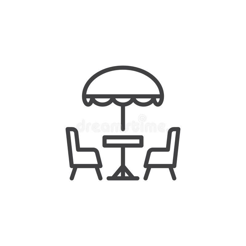 Ligne icône de café de terrasse illustration de vecteur