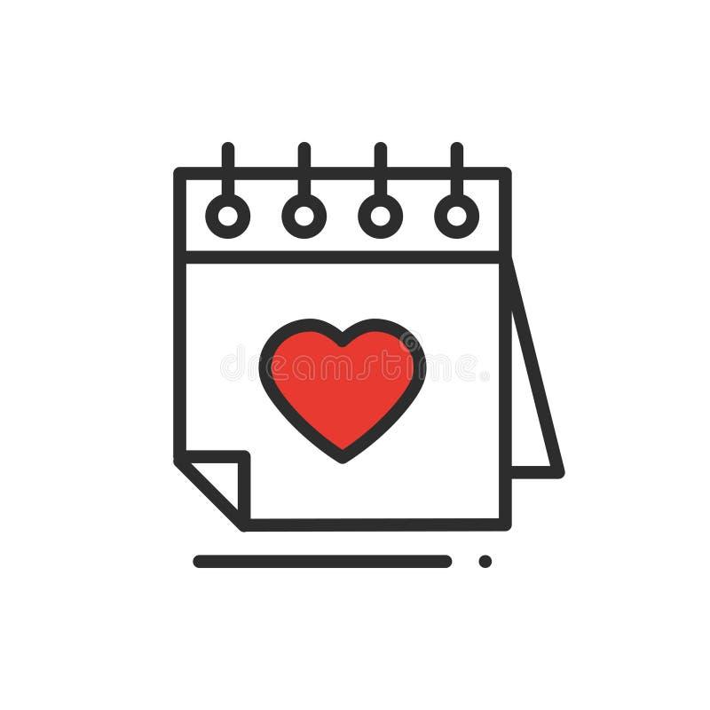 Ligne icône de calendrier rappel Signe et symbole heureux de Saint Valentin Thème de jour du mariage de datation de relations de  illustration libre de droits