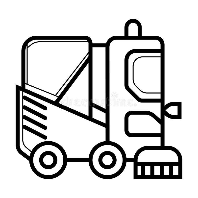 Ligne icône de camion de balayeuse illustration de vecteur