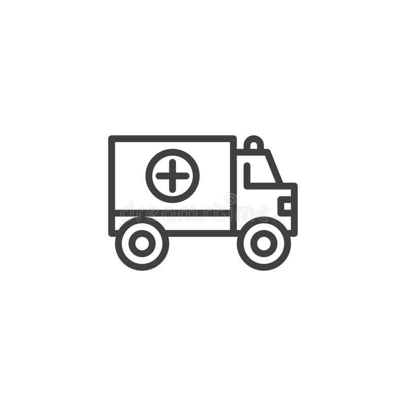 Ligne icône de camion d'ambulance illustration stock