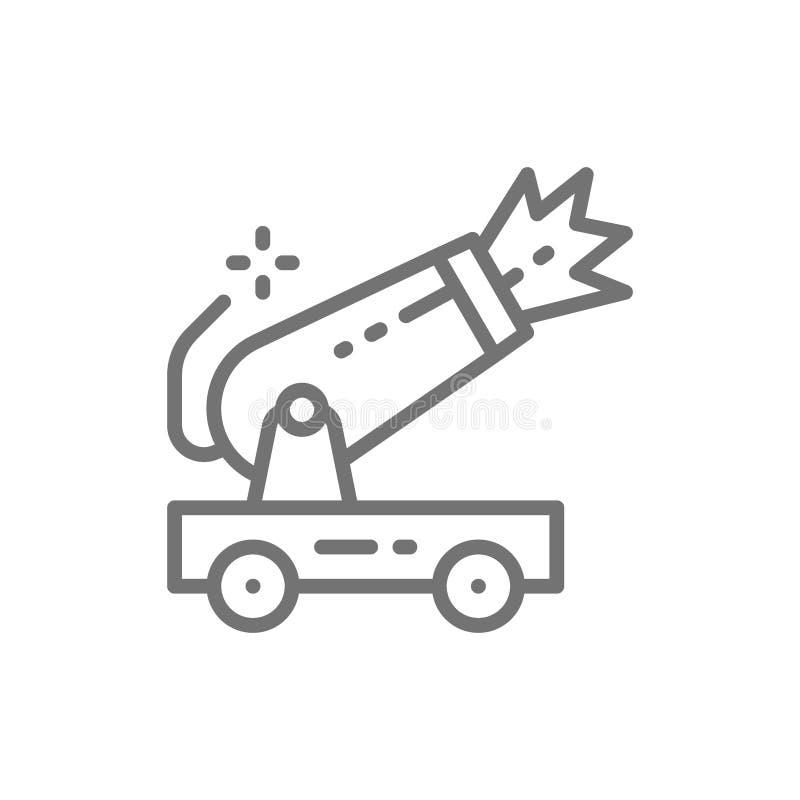 Ligne icône de canon de cirque de vecteur illustration stock