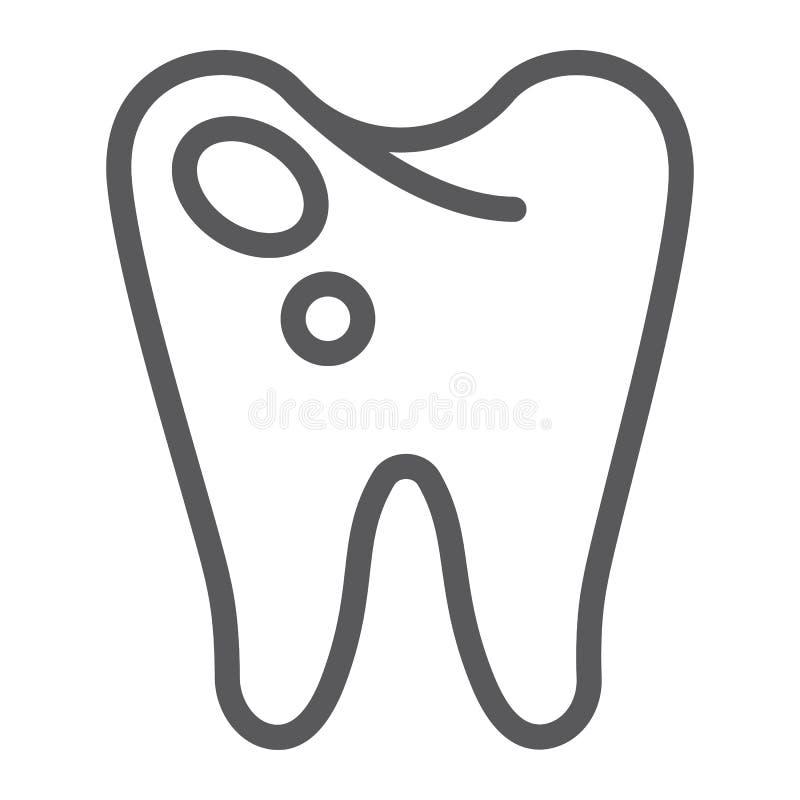 Ligne icône de carie, art dentaire et dents, signe en difficulté de dent, graphiques de vecteur, un modèle linéaire sur un fond b illustration de vecteur