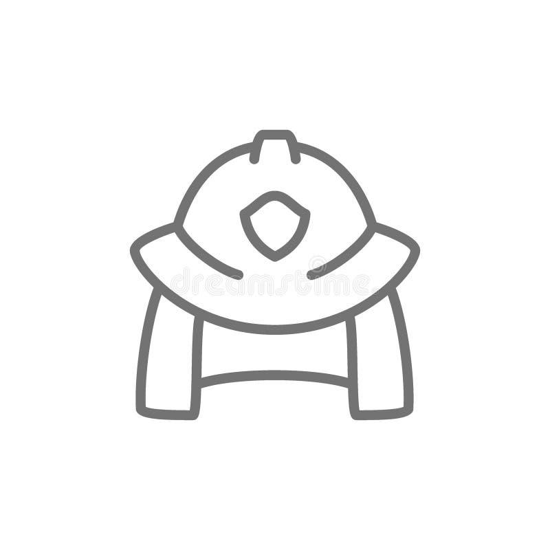 Ligne icône de casque de pompier illustration de vecteur