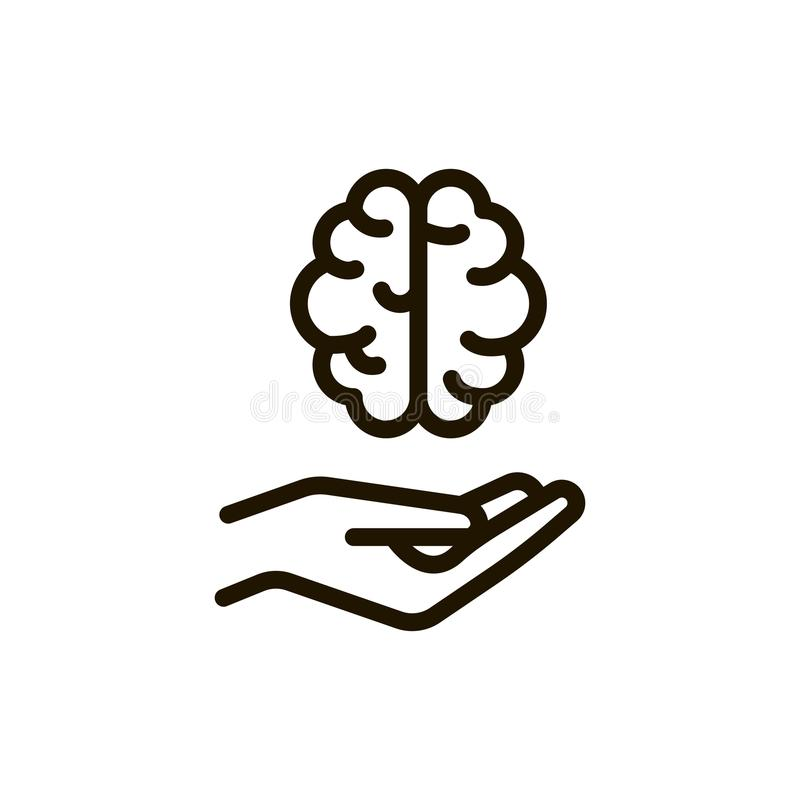Ligne icône de cerveau illustration stock
