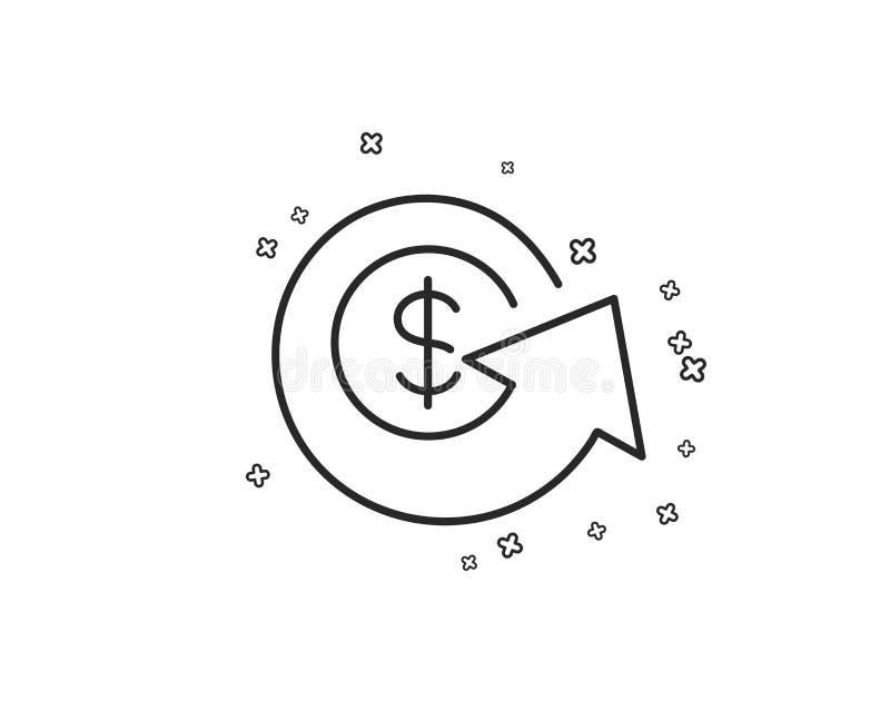 Ligne icône de change du dollar Remboursement d'argent ou signe de reprise Vecteur illustration stock