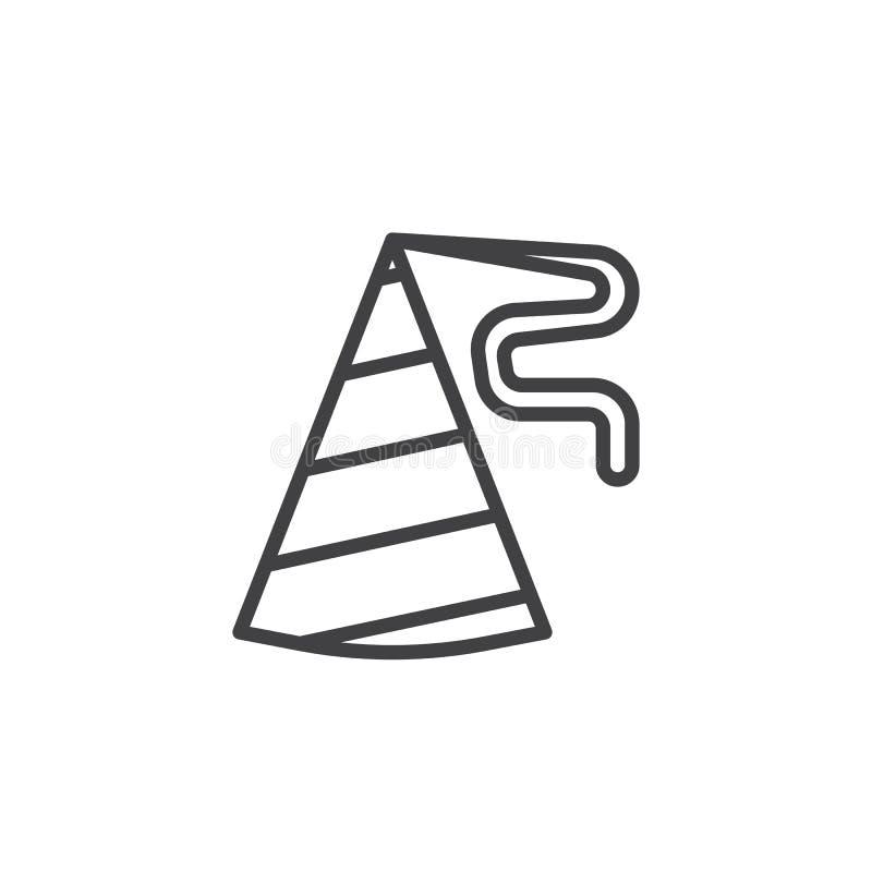 Ligne icône de chapeau d'anniversaire illustration stock