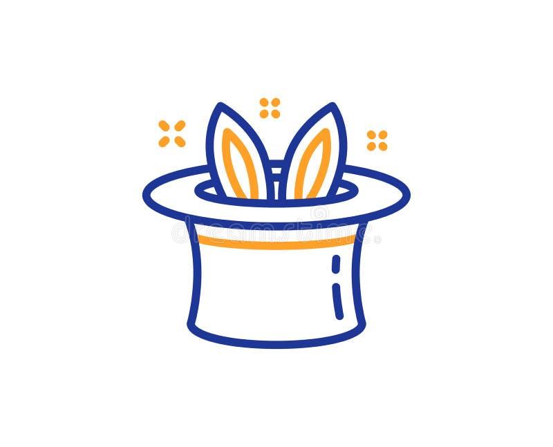ligne icône de Chapeau-tour Tours de magie avec le signe de chapeau et de lapin Vecteur illustration libre de droits