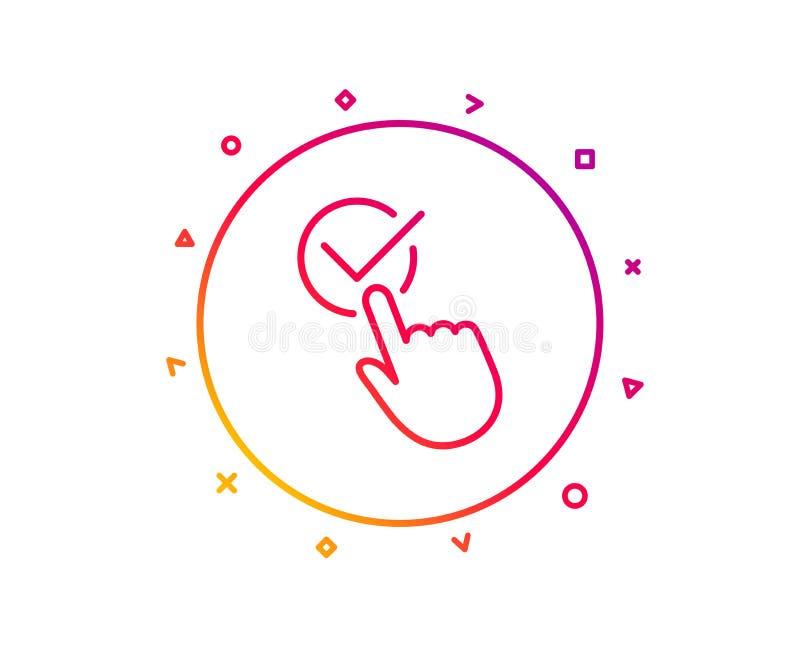 Ligne icône de Checkbox Signe admis ou confirmé Vecteur illustration stock