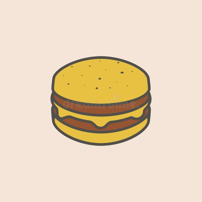 Ligne icône de cheeseburger Élément d'icône d'aliments de préparation rapide pour les apps mobiles de concept et de Web La ligne  illustration de vecteur