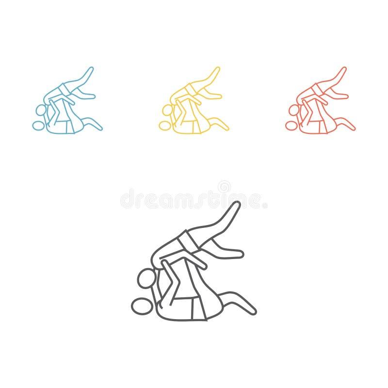 Ligne icône de combattants de judo illustration de vecteur