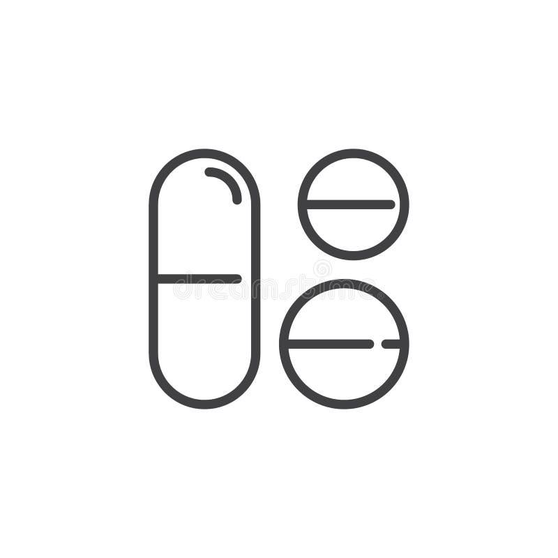 Ligne icône de comprimé somnifère illustration stock