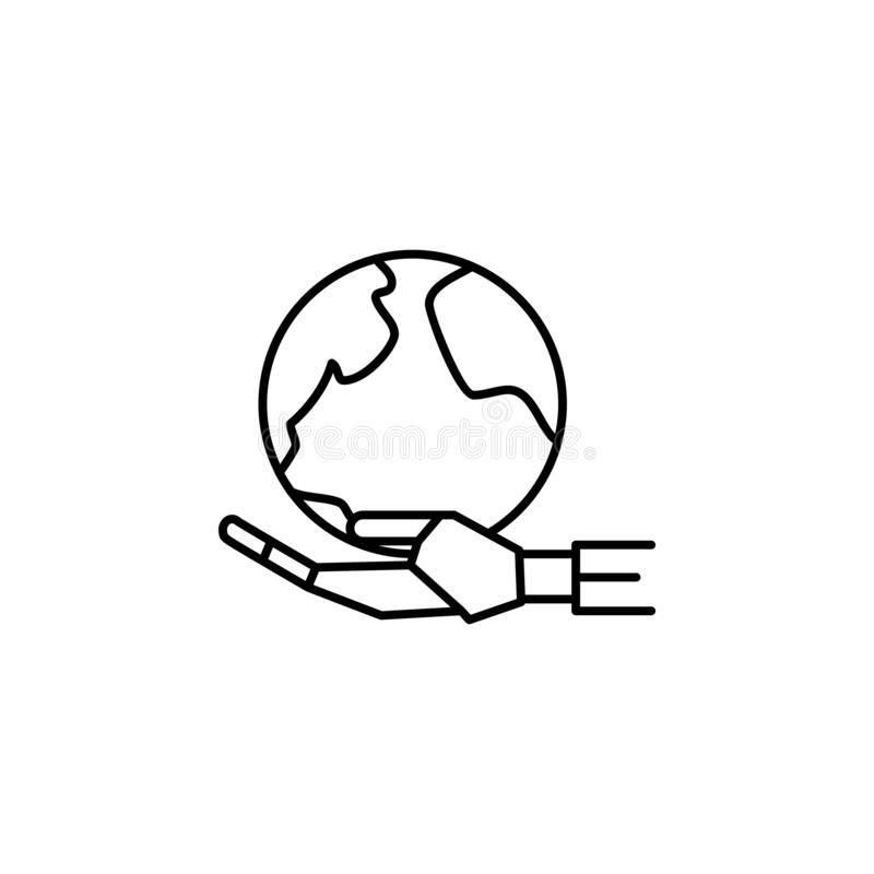 Ligne icône de concept de globe de main de robot Illustration simple d'élément Conception de symbole d'ensemble de concept de glo illustration libre de droits