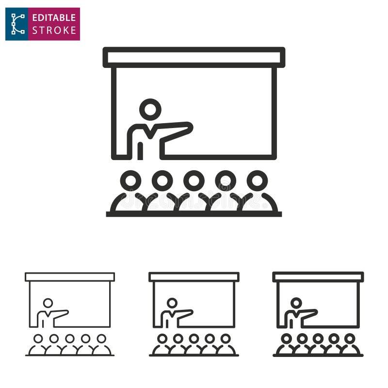 Ligne icône de conférence sur le fond blanc Course Editable illustration stock