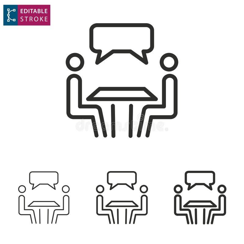 Ligne icône de conférence sur le fond blanc Course Editable illustration libre de droits