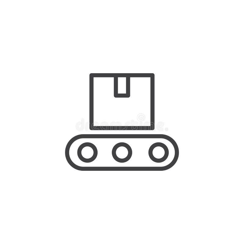 Ligne icône de convoyeur illustration stock