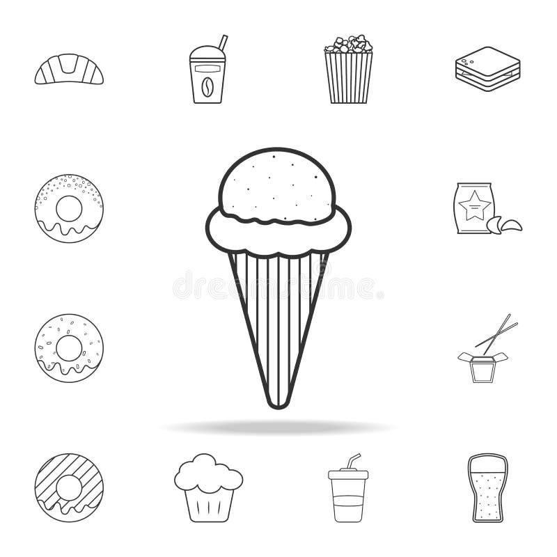 Ligne icône de crème glacée  Ensemble détaillé d'icônes d'aliments de préparation rapide Conception graphique de qualité de la me illustration stock
