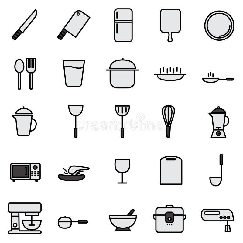 Ligne icône de cuisine réglée avec l'icône simple illustration libre de droits