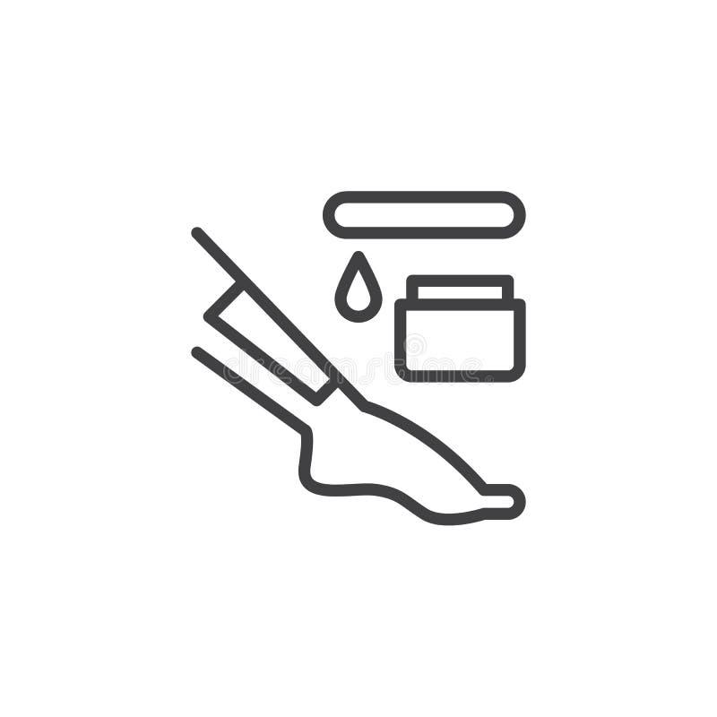 Ligne icône de dépilage de jambe illustration stock