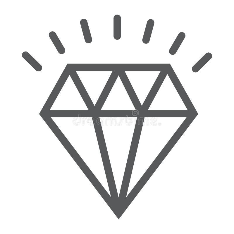 Ligne icône de diamant, cher et de luxe illustration de vecteur
