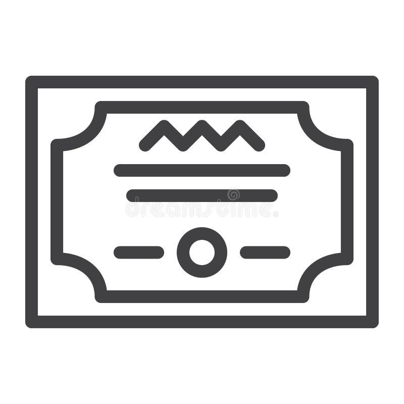 Ligne icône de diplôme illustration libre de droits