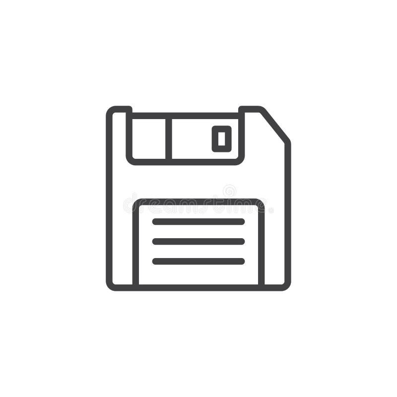 Ligne icône de disque souple illustration de vecteur