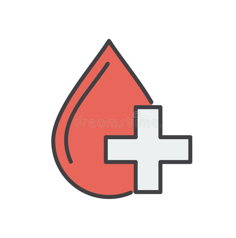 Ligne icône de don du sang sur le fond pour le graphique et la conception web Signe simple de vecteur Symbole de concept d'Intern illustration de vecteur