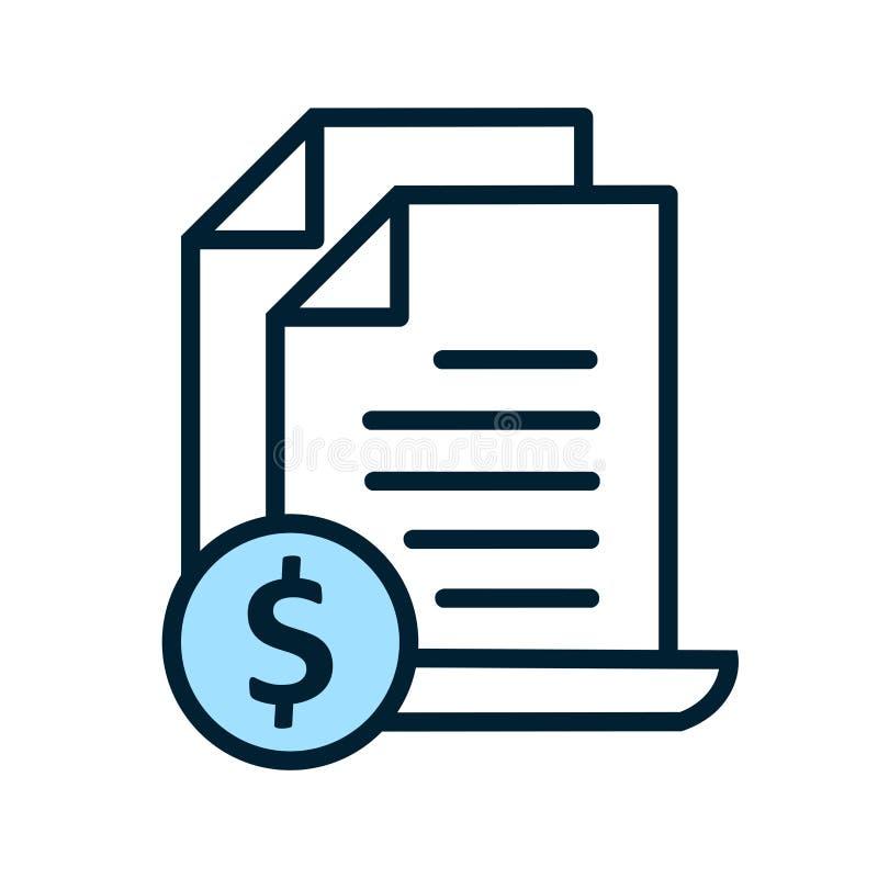 Ligne icône de facture Facture et paiement de Bill illustration de vecteur