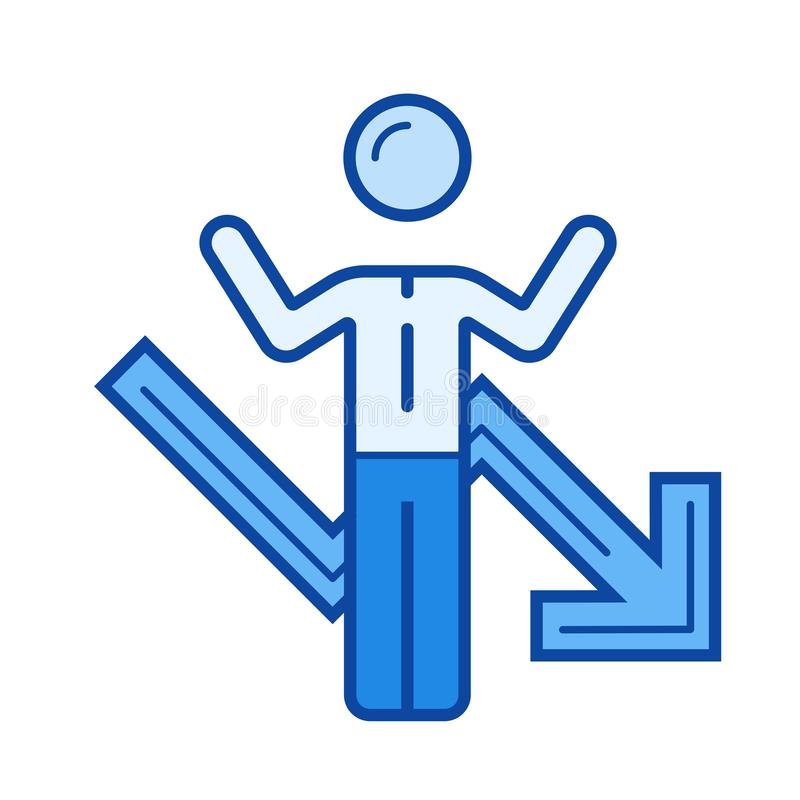 Ligne icône de faillite commerciale illustration stock