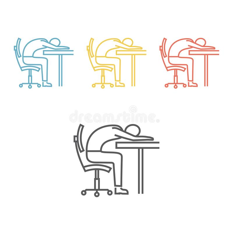 Ligne icône de fatigue illustration stock