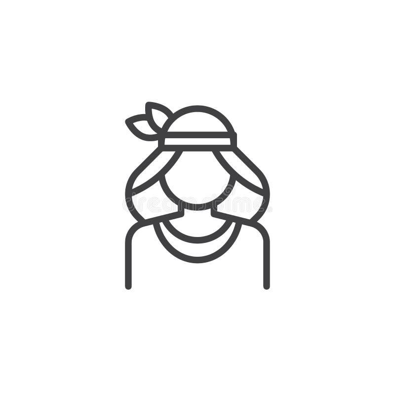 Ligne icône de femme de natif américain illustration libre de droits