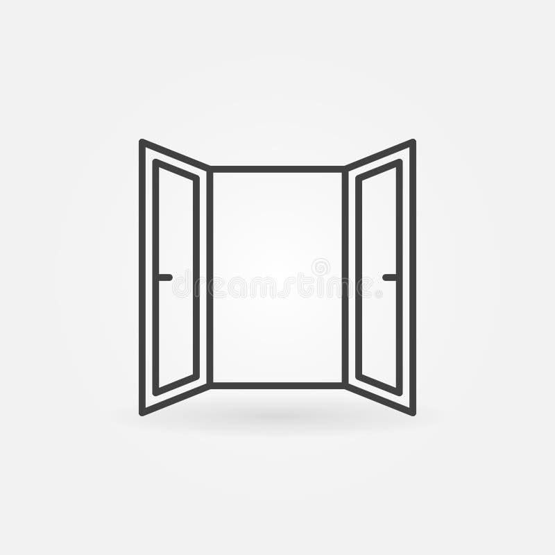 Ligne icône de fenêtre ouverte Symbole de fenêtre ouverte de vecteur illustration de vecteur