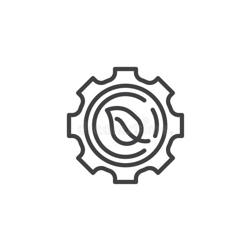 Ligne icône de feuille de vitesse illustration stock