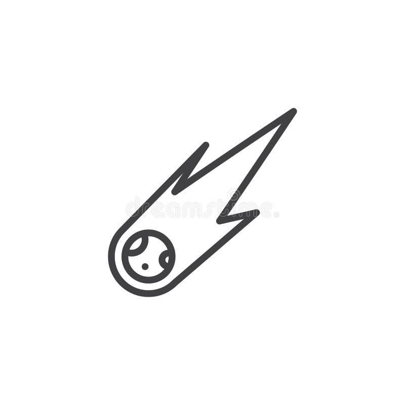 Ligne icône de flamme de queue de comète illustration libre de droits