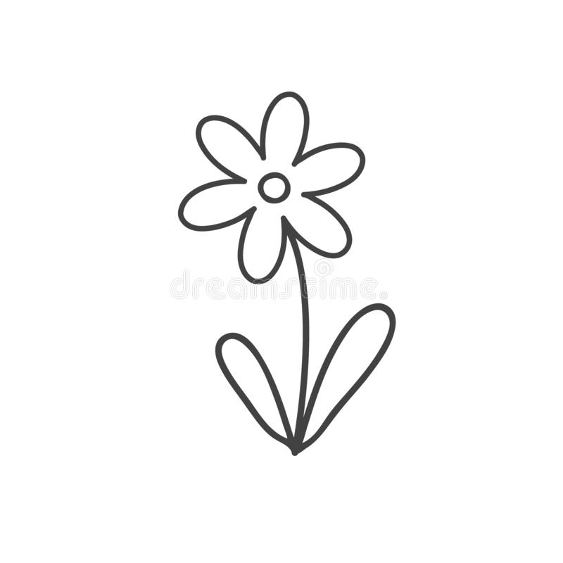 Ligne icône de fleur Signe de vecteur d'ensemble Belle fleur en noir et blanc illustration libre de droits