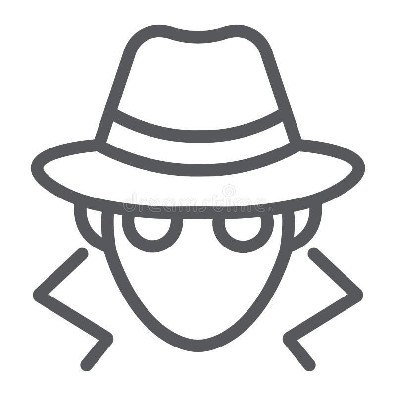 Ligne icône de fraude, anonymat et agent, signe d'espion, graphiques de vecteur, un modèle linéaire sur un fond blanc illustration libre de droits