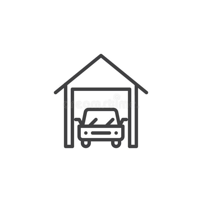 Ligne icône de garage de voiture illustration libre de droits