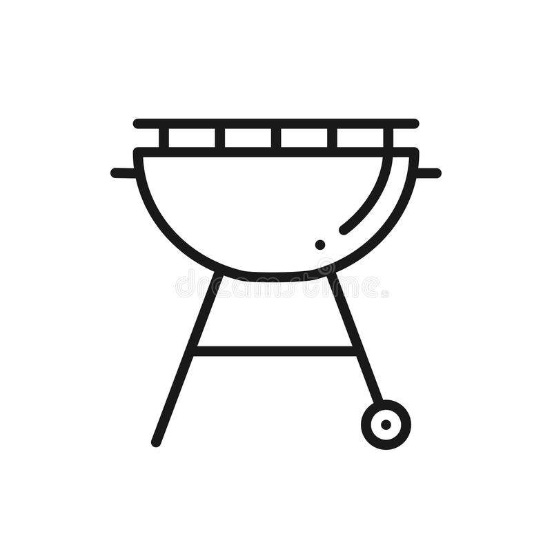 Ligne icône de gril BBQ de rôtissoire Signe et symbole de gril de charbon de bois Barbecue illustration stock