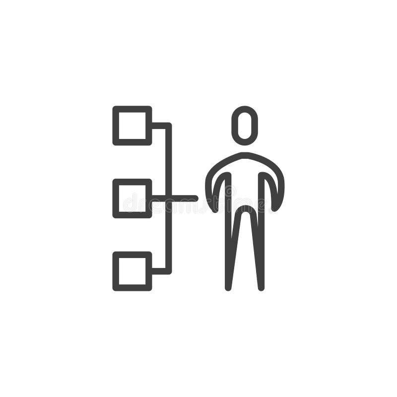 Ligne icône de hiérarchie d'affaires illustration de vecteur