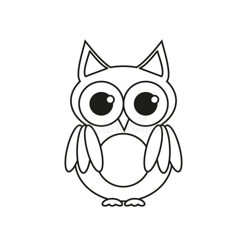 Ligne icône de hibou illustration de vecteur