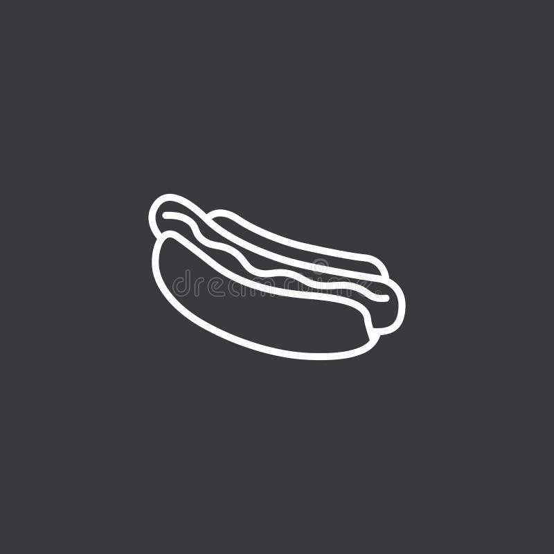 Ligne icône de hot-dog sur le fond blanc illustration stock